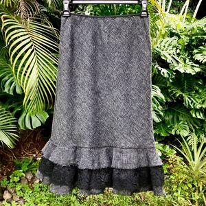 Anthropologie Grey Wool Blend/Blk Lace Skirt Sz S